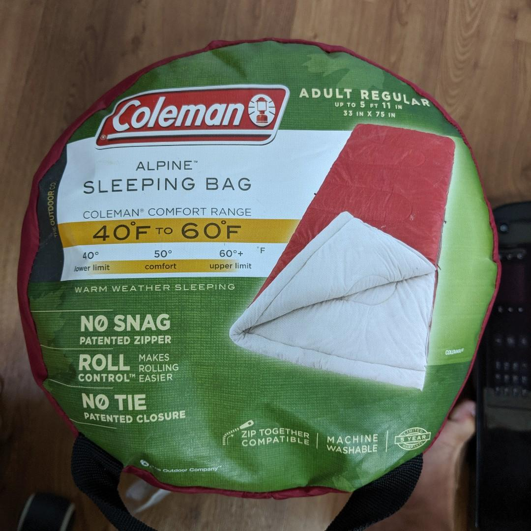 "Coleman Alpine Sleeping Bag Adult Regular Up To 5'11"" 33""x75"""