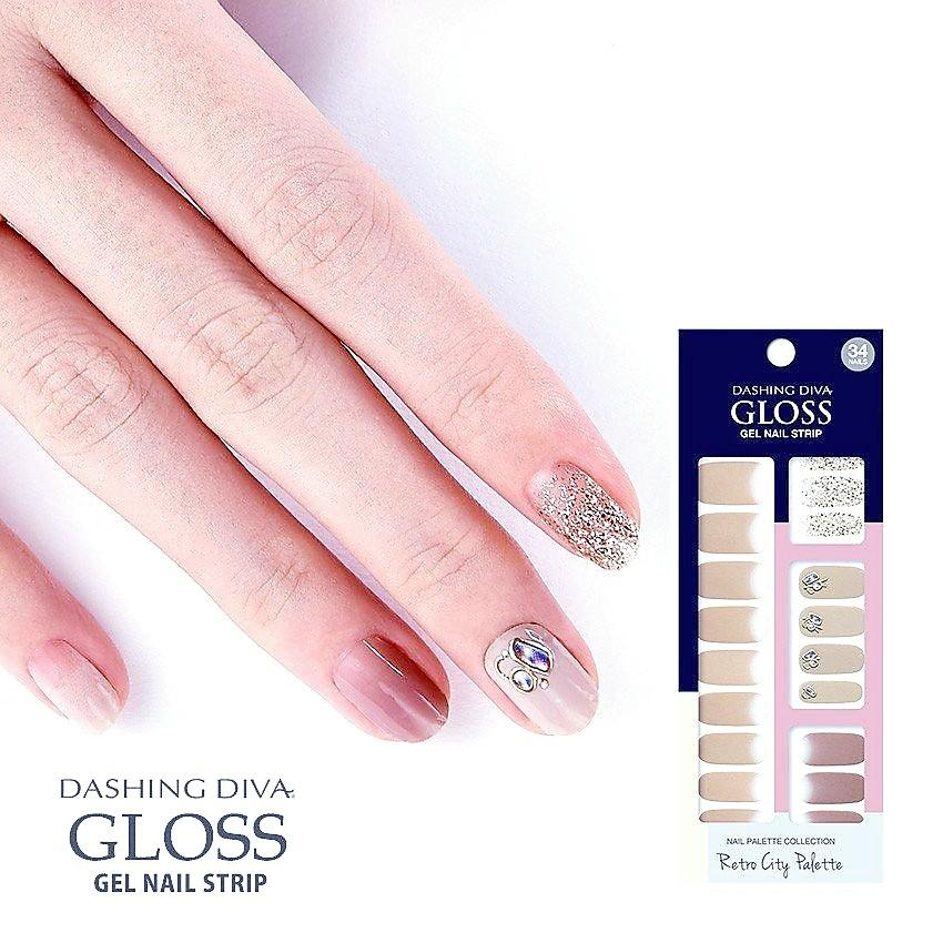 Dashing Diva Gloss Gel Palette Collection Retro City Nail Strip Wraps Pack Set