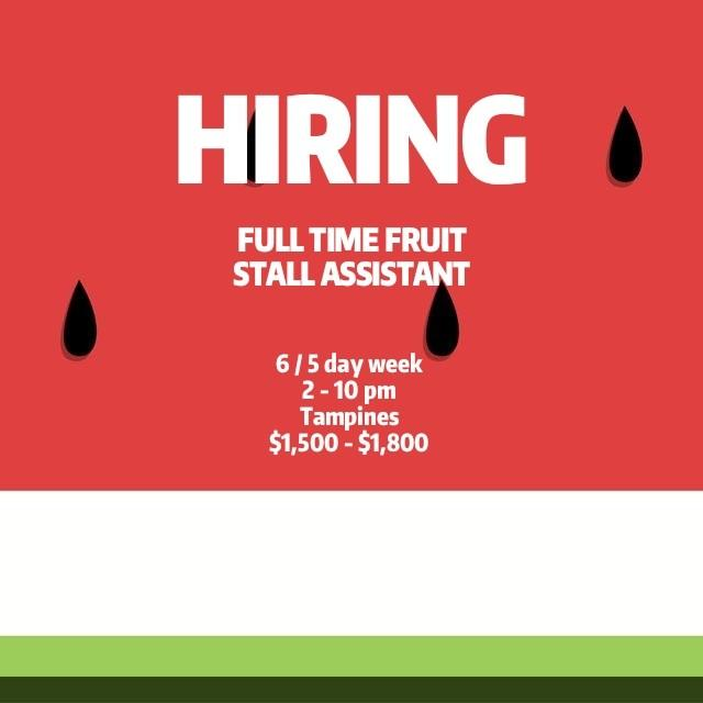 Full Time Fruit Stall Assistant (Part Time Available)