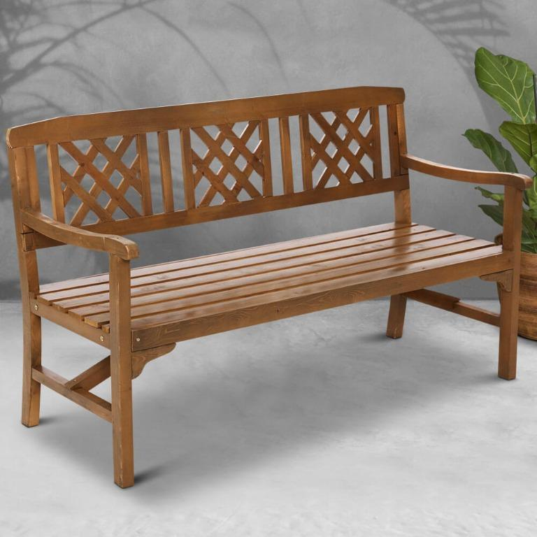 Gardeon Wooden Garden Bench 3 Seat Patio Furniture Timber Outdoor Lounge Chair Natural