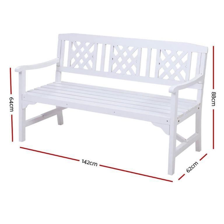 Gardeon Wooden Garden Bench 3 Seat Patio Furniture Timber Outdoor Lounge Chair White
