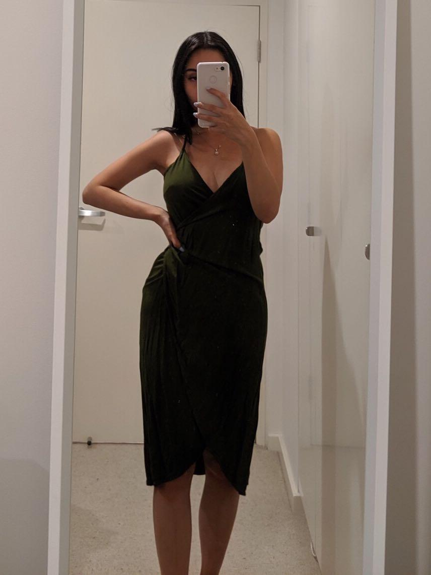 Green Wrap Midi Dress