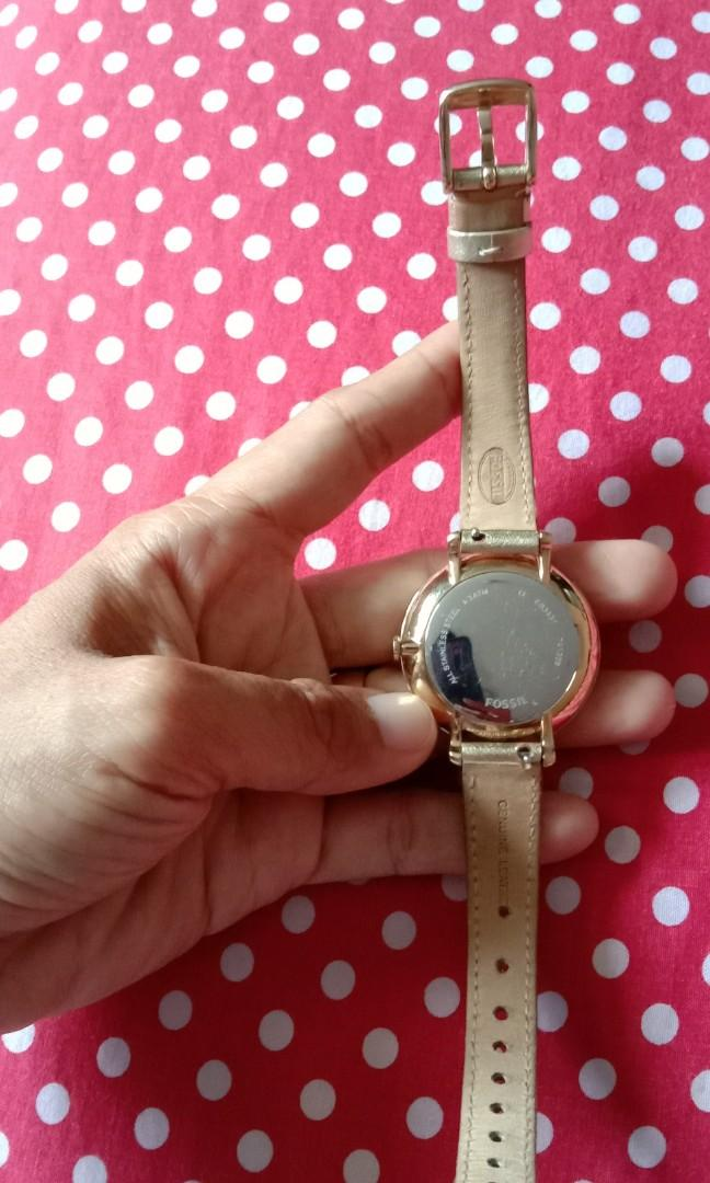 Jam tangan fossil strap leather gold