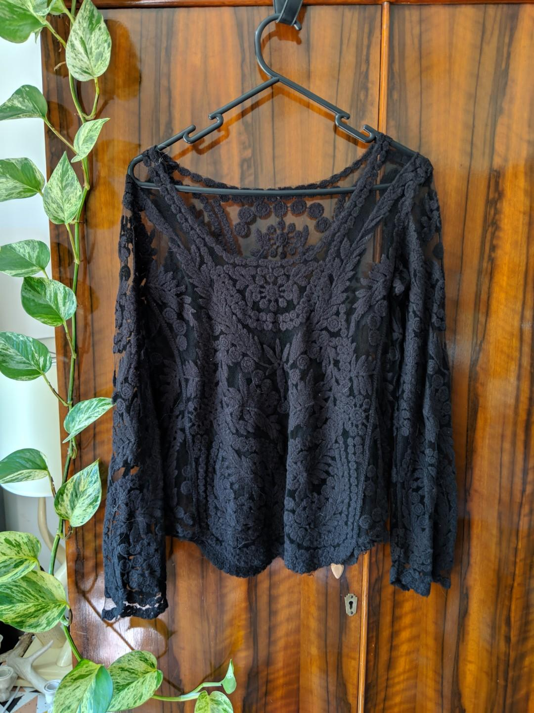 Lace embroided top jumper