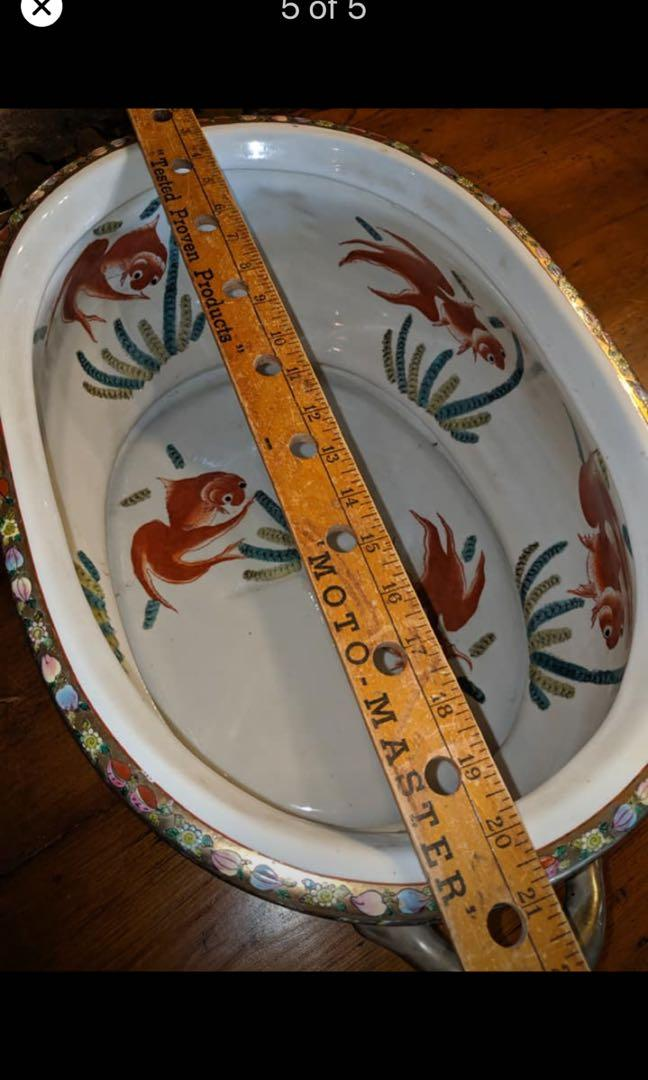 Large Antique Oval Fishbowl or Planter