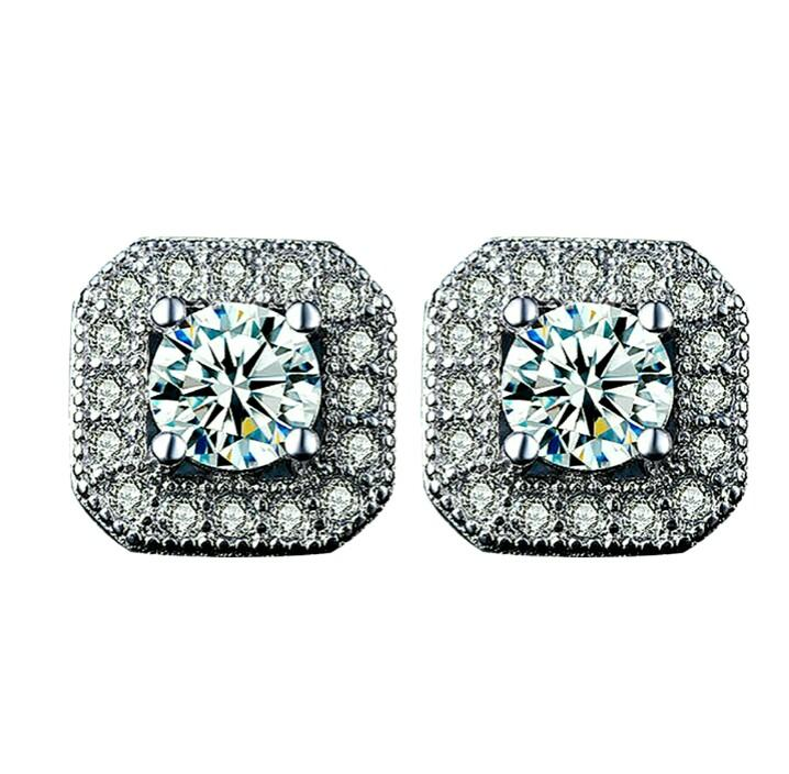 "Luxury 925 Silver Sparkling ""QUEEN"" Design Crystal Zircon Earrings ⛤033"
