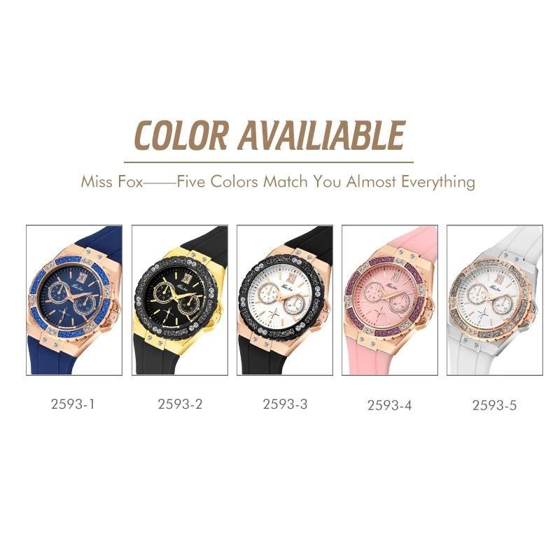 MISSFOX montres femmes chronographe or Rose montre de Sport dames diamant bleu bande de caoutchouc Xfcs analogique femme montre-bracelet à Quartz
