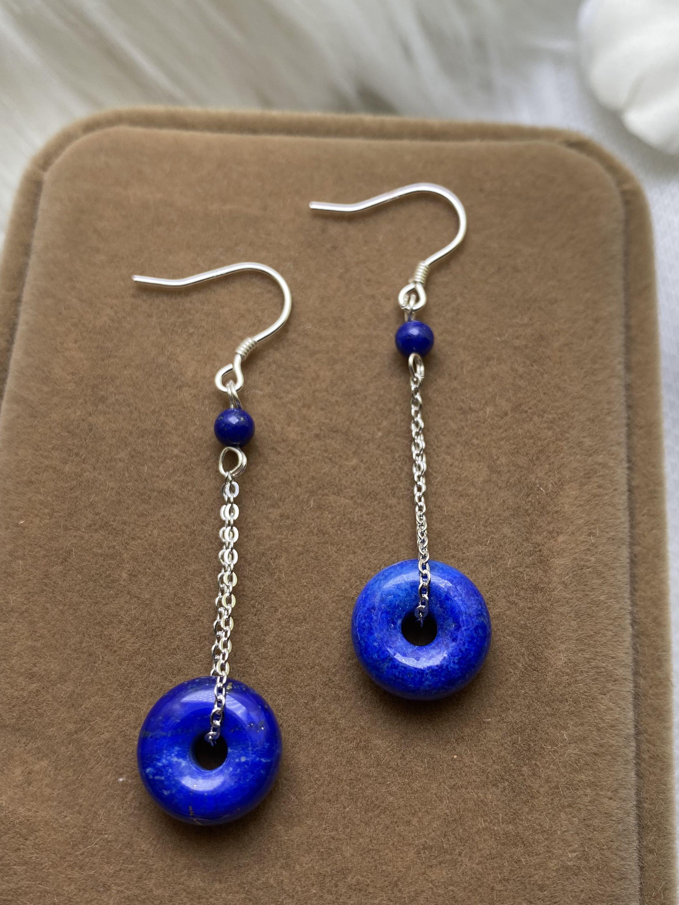 Natural Lapis Lazuli Donut Earrings S925 Silver