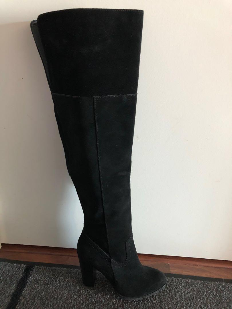 NEW - Suede (not synthetic suede) black over the knee boots