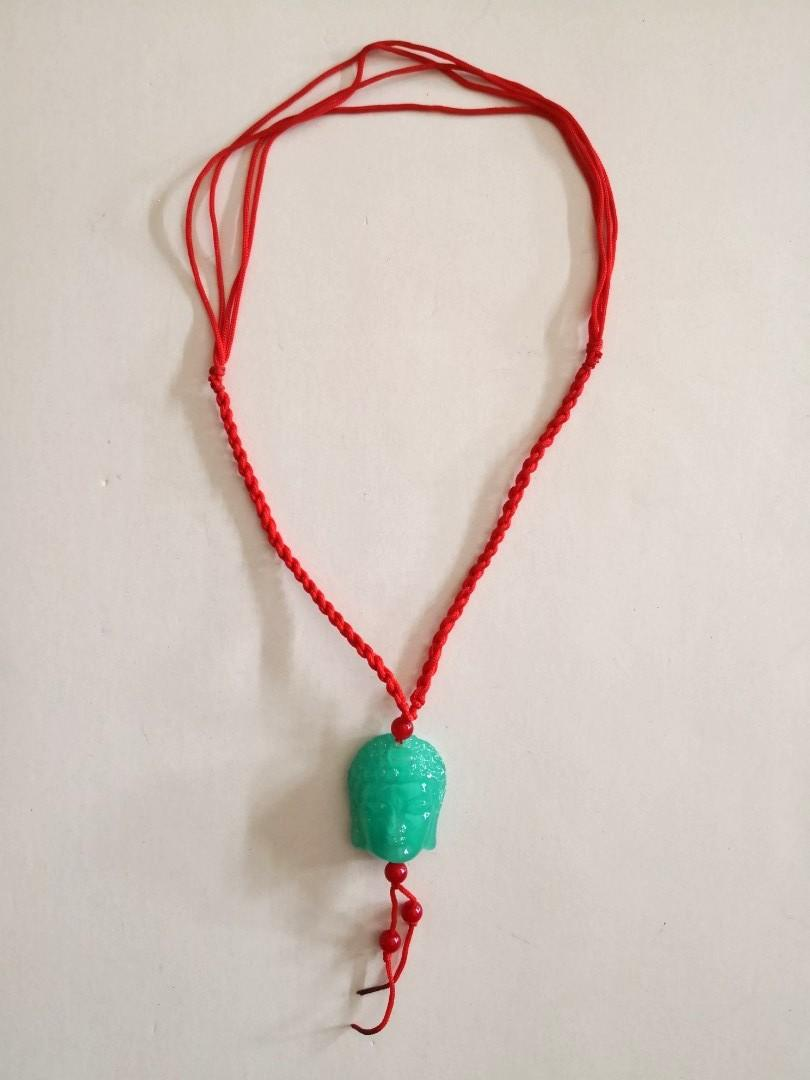 NEW Leshan Ancient Giant Buddha's Head Carving Jade Green Ceramic Pendant with Red String Necklace