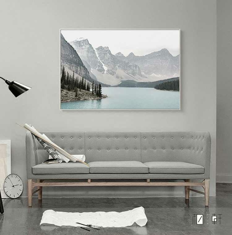 Nordic Scandinavian Tranquil Mountain Lake Painting Wall Art