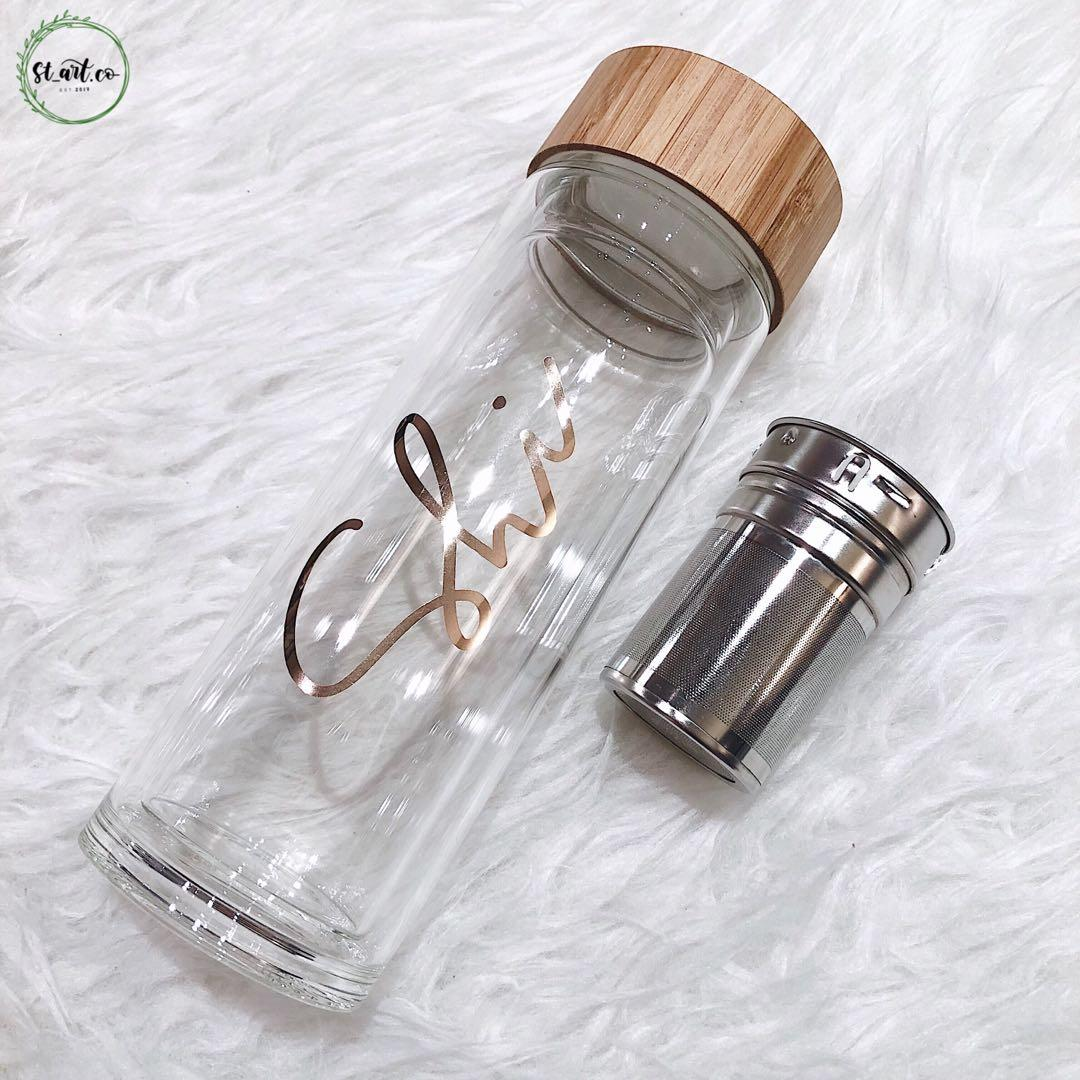 Personalised double wall glass bottle with tea infuser