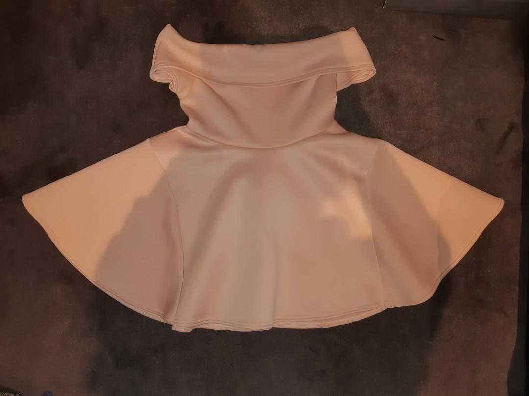 Pretty Little Thing Nude Bonded Scuba Bardot Skater Dress