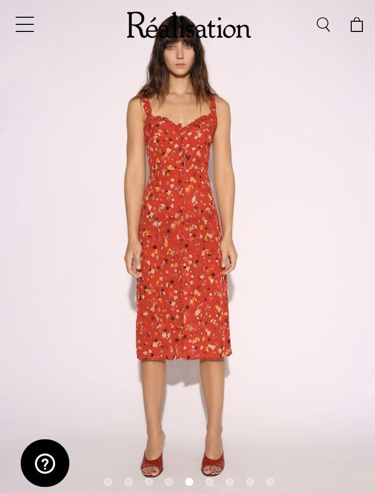 HIRE - REALISATION PAR Dress HIRE S small Juliet red floral mid length