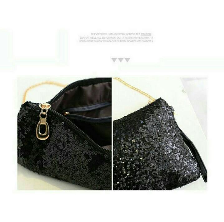 Shiny Elegant Black Glitter Sequin Purse Clutch Mini Evening Chain Bag