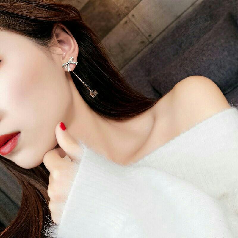 Sparkling 925 Silver Korean Style Elegant Bow Crystal Earrings ⛤001