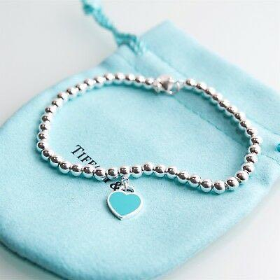 Tiffany & CO. Silver return to tiffany blue enamel bead bracelet