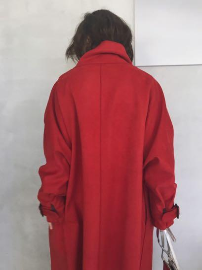 (🇯🇵日本代購)日幣¥30,250円【AMERI】代官山知名品牌夢幻逸品大牌感麂皮感直線剪裁高領立領牛角扣紅外套