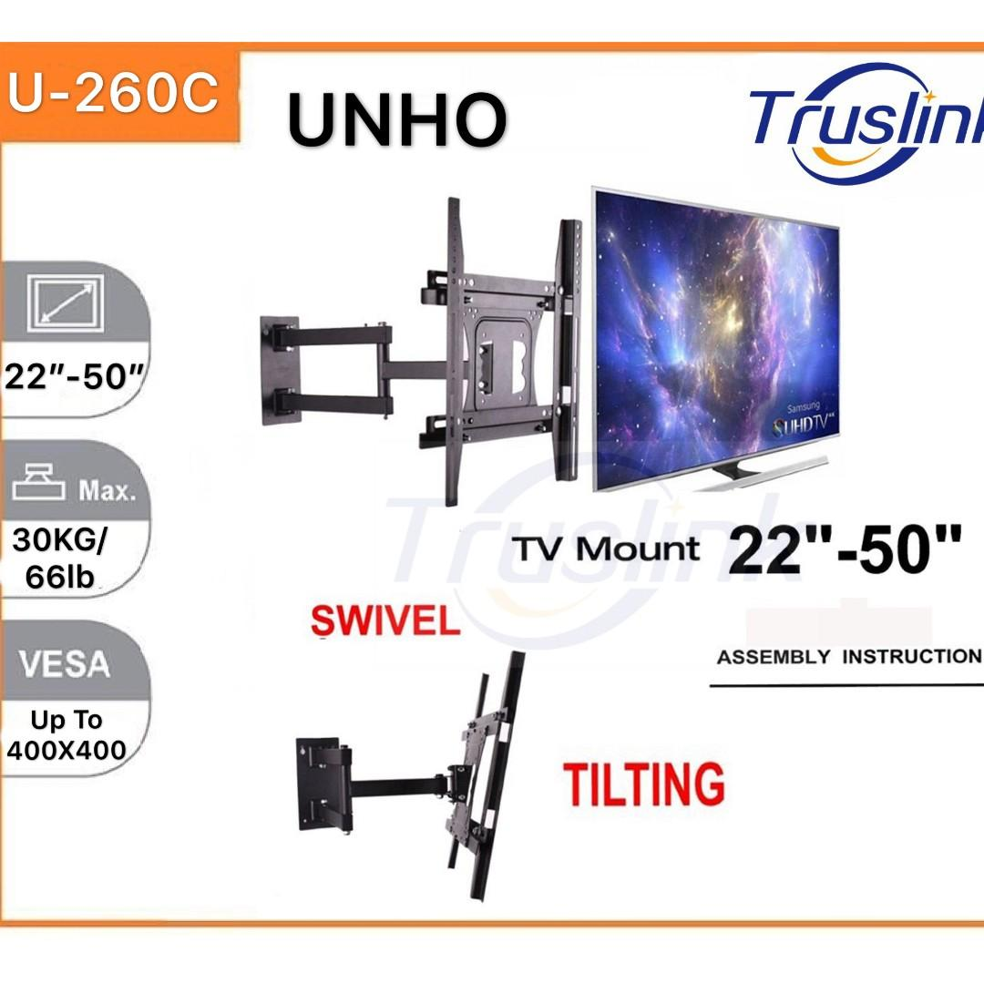 Unho U 260c Full Motion Articulating Tv Wall Mount Universal Tilt Swivel Bracket For 22 50 Inch Flat Screen Tvs Lcd Dvd Wall Mount Home Appliances Tvs Entertainment Systems On Carousell