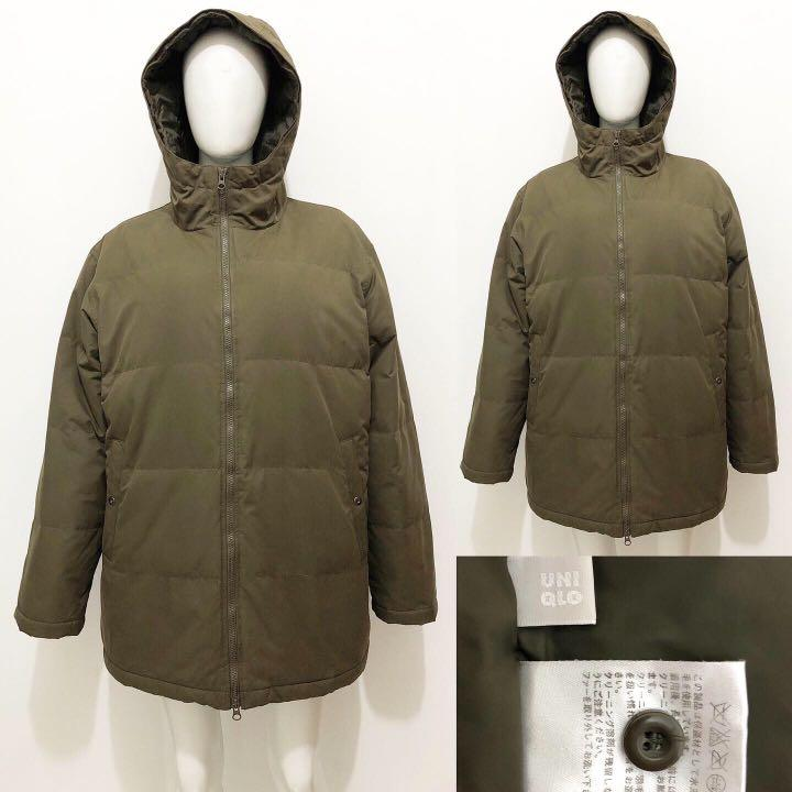 Uniqlo men premium green army winter down coat / jacket