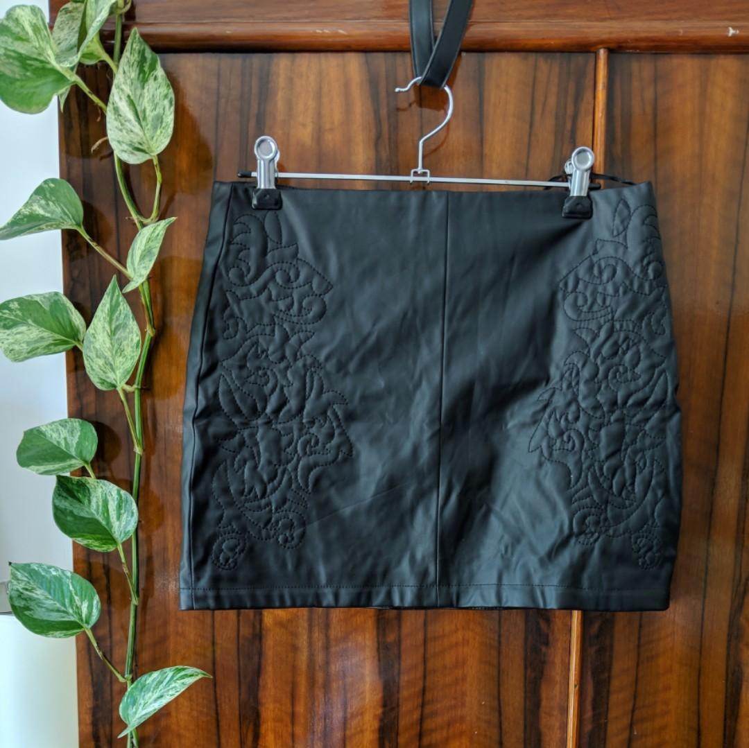 Western print leather skirt