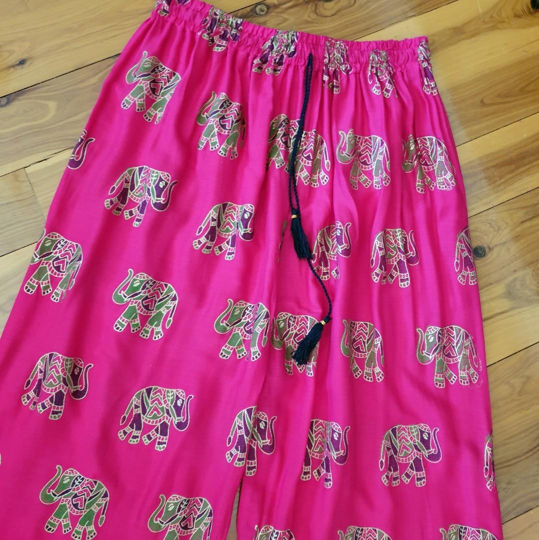 Women's free size 'LILLE' Gorgeous fuschia pink wide leg rayon palazzo pants - AS NEW