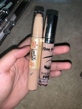 Concealer, eyeshadow primer, eyebrow/eyelash gel