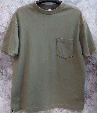 Uniqlo 軍綠 寬版 寬鬆 短踢 短袖 T恤 落肩 oversize U 系列 設計師 口袋 重磅 綠 水洗 橄欖綠