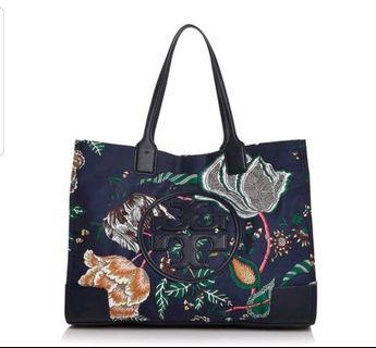 Tory Burch 專櫃款Ella Medium Floral-Print Tote 深藍花卉托特包