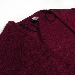 二手 女生 酒紅 罩衫 長袖 薄外套 H&M 長版 外套 秋冬 二手外套