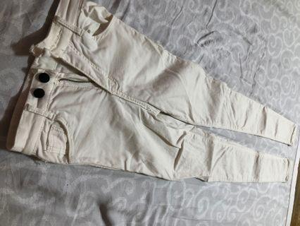 白色彈性長褲