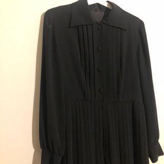 (免運)日本製古著黑色百褶洋裝