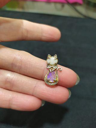貓咪蛋白石純銀小墜子/適合小朋友配戴