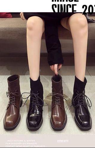 帥氣馬丁靴女顯瘦2019秋冬新款歐美時尚粗跟彈力襪靴復古個性短靴