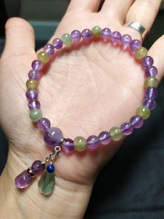 紫水晶手鍊+緬甸冰玉珠