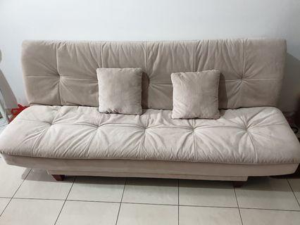 Sofa Bed Khaki Beige Cream Suede 2 Meter Bersih
