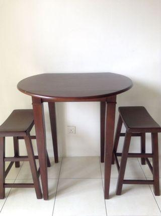 Solid wood high table and stools