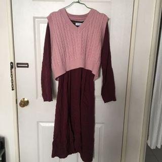 粉色毛衣!