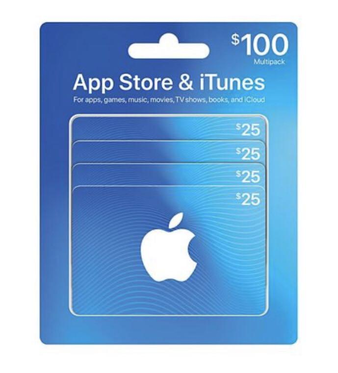 $100 App Store & iTunes Gift Cards Multipack - 4/$25