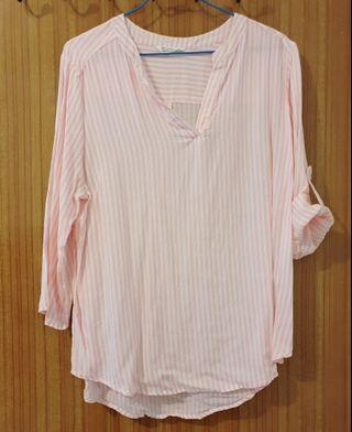 軟質粉條V領襯衫