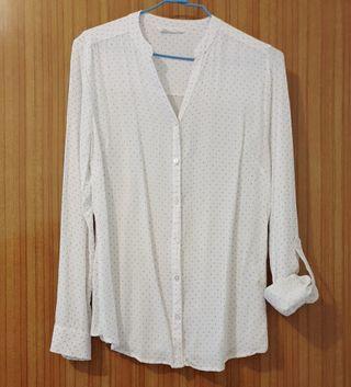 軟質點點V領白襯衫