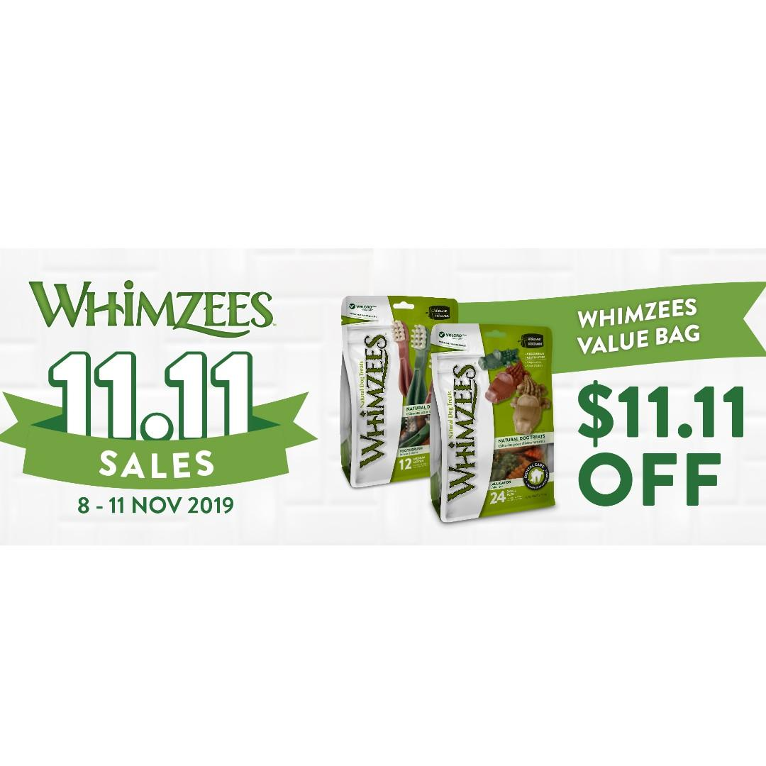 11.11 Sale! $11.11 OFF: Whimzees Natural Dog Treats 360g