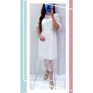 Dress 2in1 premium embroidery white