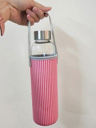 隨身玻璃瓶 附線條保護套
