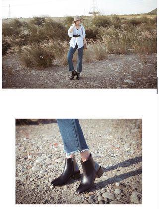 Fm shoes Kimy聯名款-小方頭方跟短靴黑37