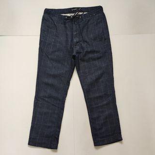 Back Number slim fit stripped ankle pants blue