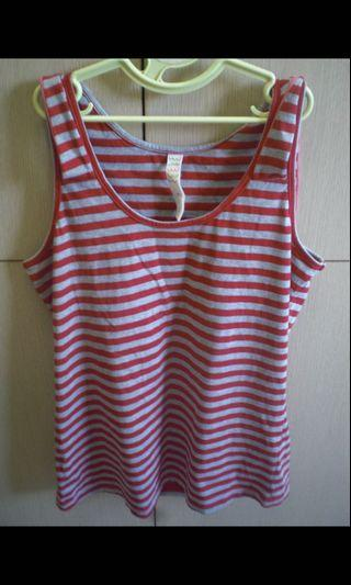 a la sha專櫃~紅色條紋綁帶上衣