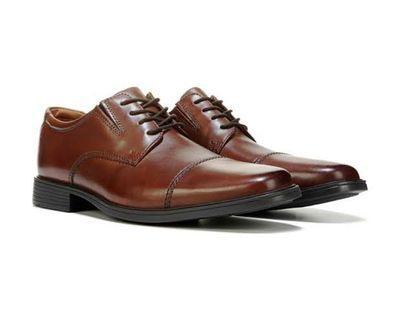 Clark's Men's Tilden Cap Toe Oxford Brown Leather Dress shoes