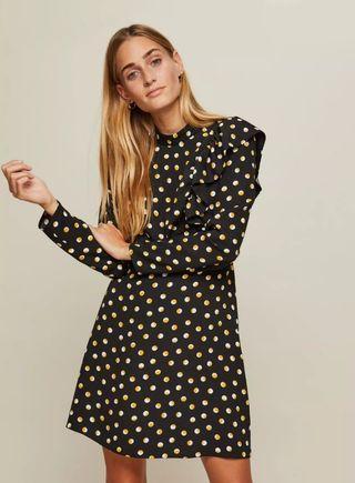Preloved Miss selfridge high Neck polkadots shift dress