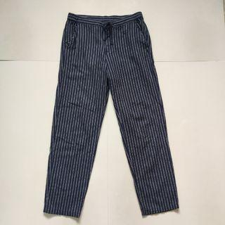 Uniqlo slim fit stripped ankle pants blue